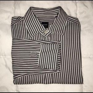 Hugo Boss gray and white striped button shirt